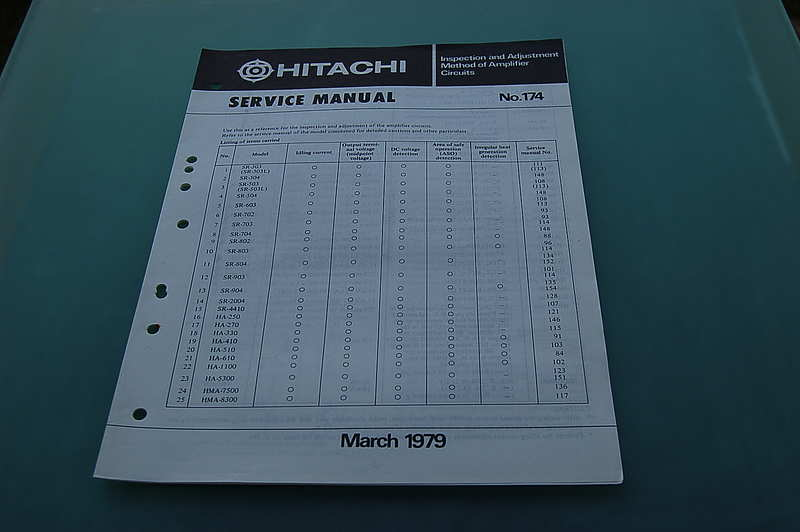 Hitachi Service & Adjustment Service manual No. 174 / HMA-8300 HMA-7500 HA-1100 HA-610 etc.