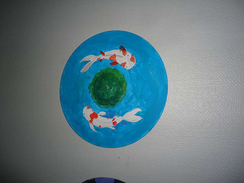 "Art LP "" Koi "" / Upcycling - painted record by Nina K."