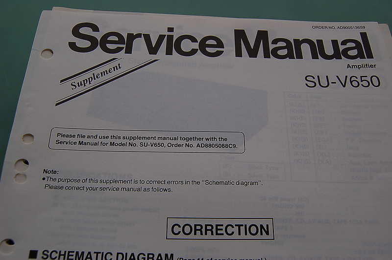 Technics SU-V 650 Supplement Service Manual